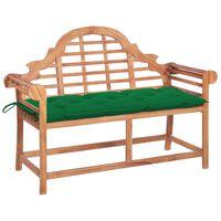 vidaXL Panca da Giardino con Cuscino Verde 120 cm in Massello di Teak