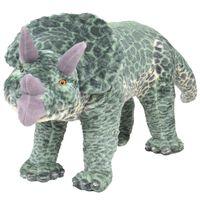 vidaXL Dinosauro Triceratopo di Peluche Giocattolo Verde XXL
