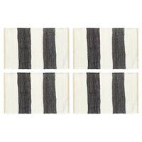 vidaXL Tovagliette 4 pz Chindi Strisce Antracite Bianco 30x45cm Cotone