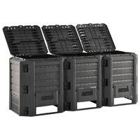 vidaXL Compostiera da Giardino Nera 1200 L
