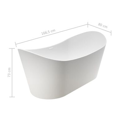 vidaXL Vasca da Bagno Autoportante in Acrilico Bianco 204 L