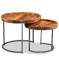 vidaXL Set Tavolini da Salotto 2 pz in Legno Massello di Mango