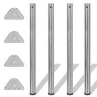 Set 4 gambe in nickel tavolo regolabili con staffe triangolari 870 mm