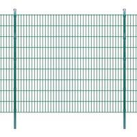 vidaXL Pannello di recinzione 2D giardino con paletti 2008x1830 mm 4m verde