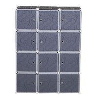 Homcom Armadio Guardaroba Modulare 12 Cubi Fai da Te in PP Bianco