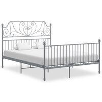 vidaXL Bed Frame Grey Metal and Plywood 140x200 cm