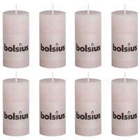 Bolsius Candele Rustiche Moccoli 8 pz 100x50 mm Rosa Pastello