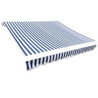 vidaXL Tenda Parasole in Tela Blu e Bianco 4 x 3m (Telaio non Incluso)