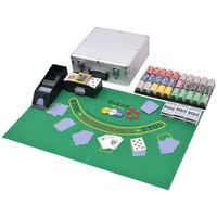 vidaXL Set da Poker/Blackjack con 600 Chips Laser Alluminio