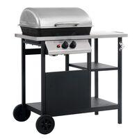 vidaXL Barbecue e Griglia a Gas a 3 Ripiani Tavolinetto Nero e Argento