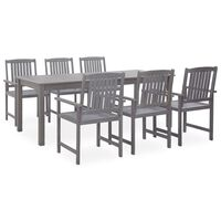 vidaXL 7 Piece Outdoor Dining Set Grey Solid Acacia Wood (311850+312030+311875)