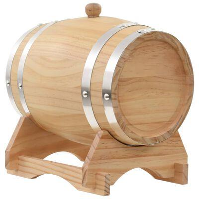 vidaXL Barilotto di Vino con Spina in Legno Massello di Pino 6 L