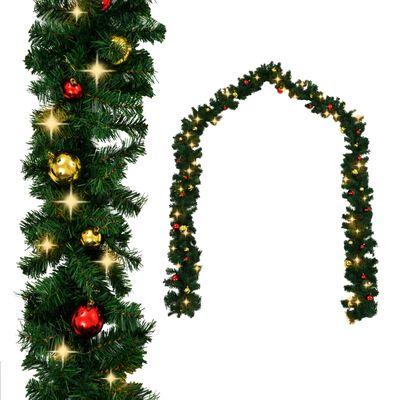 vidaXL Ghirlanda di Natale Decorata con Palline e Luci a LED 5 m