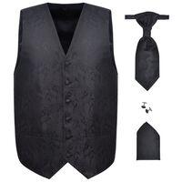 Set Gilet di nozze da uomo paisley elegante taglia 50 nero