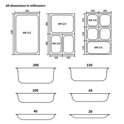 vidaXL Contenitori Gastronorm 12 pz GN 1/3 40 mm in Acciaio Inox