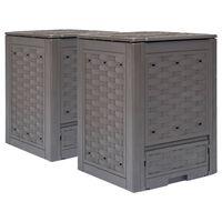 vidaXL Compostiere per Giardino 2 pz Marrone 60x60x83 cm 600 L