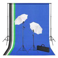 vidaXL Set Studio Fotografico con Sfondi, Luci e Ombrelli