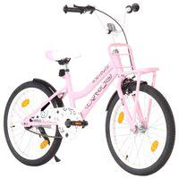 vidaXL Bici per Bambini con Trasportino Frontale 20'' Rosa e Nera
