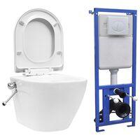 vidaXL WC a Muro senza Bordo con Sciacquone Nascosto Ceramica Bianco