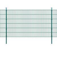 vidaXL Pannelli di recinzione 2D giardino con paletti 2008x1230 mm 34m verde