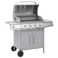 vidaXL Barbecue e Griglia a Gas 4+1 Fornelli Argento in Acciaio Inox