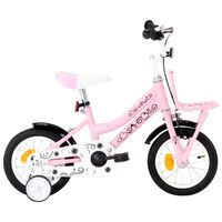 vidaXL Bici per Bambini con Trasportino Frontale 12'' Bianco e Rosa