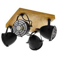 "EGLO Spot Light ""Gatebeck""  4 Lamps Steel and Wood Black"