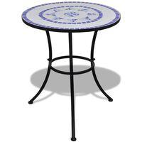 vidaXL Tavolo da Bistrot Blu e Bianco 60 cm a Mosaico