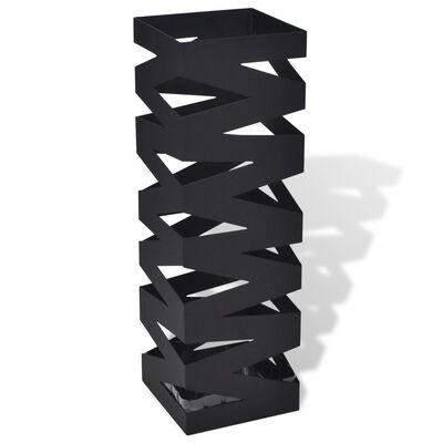 vidaXL Portaombrelli Bastoni Passeggio Quadrato Acciaio 48,5 cm Nero