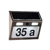 HI Numero Civico Illuminato a LED Solare Argento