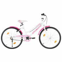vidaXL Bici per Bambini 24 Pollici Rosa e Bianca