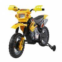 HomCom Moto Cross Elettrica per Bambini con Rotelle, Giallo
