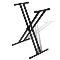 vidaXL Postazione da Tastiera a Doppio Supporto Regolabile Telaio a X