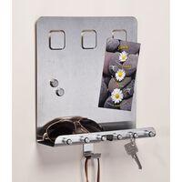 HI Portachiavi con Pannello per Appunti Argento 28,5x25x8 cm