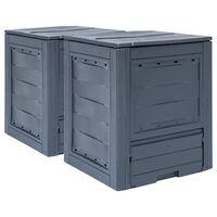 vidaXL Compostiere per Giardino 2 pz Grigio 60x60x73 cm 520 L