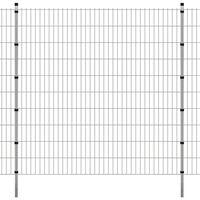 vidaXL Pannello recinzione da giardino con pali 2008x2030mm 2m Argento