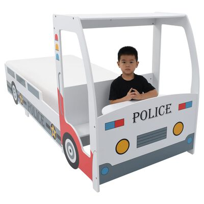vidaXL Letto Bimbo Auto Polizia con Materasso 90x200 cm 7 Zone H3