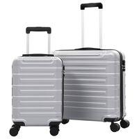 vidaXL Set Trolley a Custodia Rigida 2 pz Argento in ABS