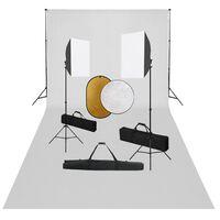 vidaXL Kit Studio Fotografico con Luci Softbox Fondale e Riflettore