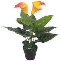 vidaXL Calla Lily Artificiale con Vaso 45 cm Rosso e Giallo