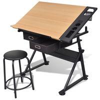 Tavolo inclinabile con due cassetti tavolo da disegno con sgabello