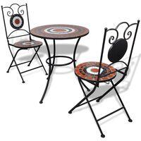 vidaXL Set da Bistrot 3 pz Piastrelle di Ceramica Terracotta e Bianco