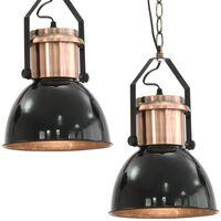 vidaXL Lampade da Soffitto 2 pz Nero Tondo E27