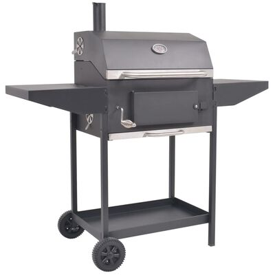 vidaXL Barbecue a Carbonella con Ripiano Inferiore Nero
