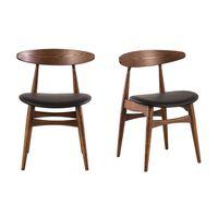 Sedie in legno chiaro e PU nero design scandinavo giapponese