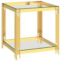 vidaXL Tavolino da Caffè Oro 55x55x55 cm in Acciaio Inox e Vetro