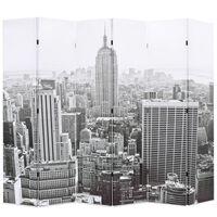 vidaXL Paravento Pieghevole 228x170 cm Stampa New York Bianco e Nero