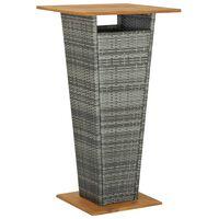 vidaXL Tavolino da Tè Grigio 60x60x110 cm Polyrattan e Massello Acacia