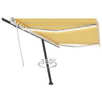 vidaXL Tenda da Sole Retrattile Manuale LED 500x300 cm Gialla e Bianca