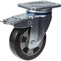 Ruota in gomma nera con ruote da 152 mm e 6 pollici con freno, forte
